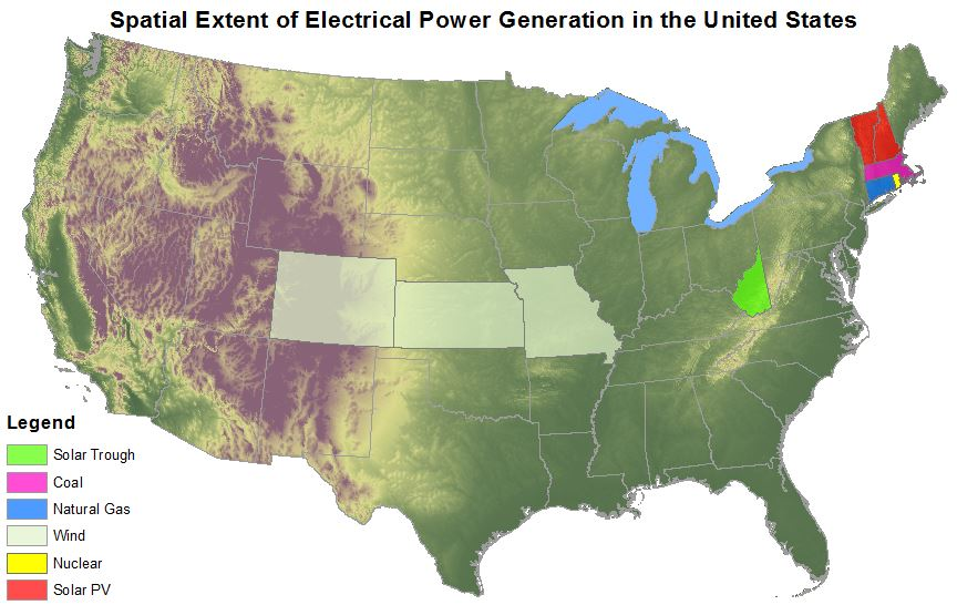 Woody biomass is not included in the map because the space required covers multiple United States.